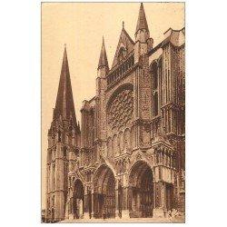 carte postale ancienne 28 CHARTRES. La Cathédrale Portail et Clocher 1938