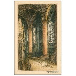 carte postale ancienne 28 CHARTRES. L'Eglise. Carte papier velin style parchemin signée