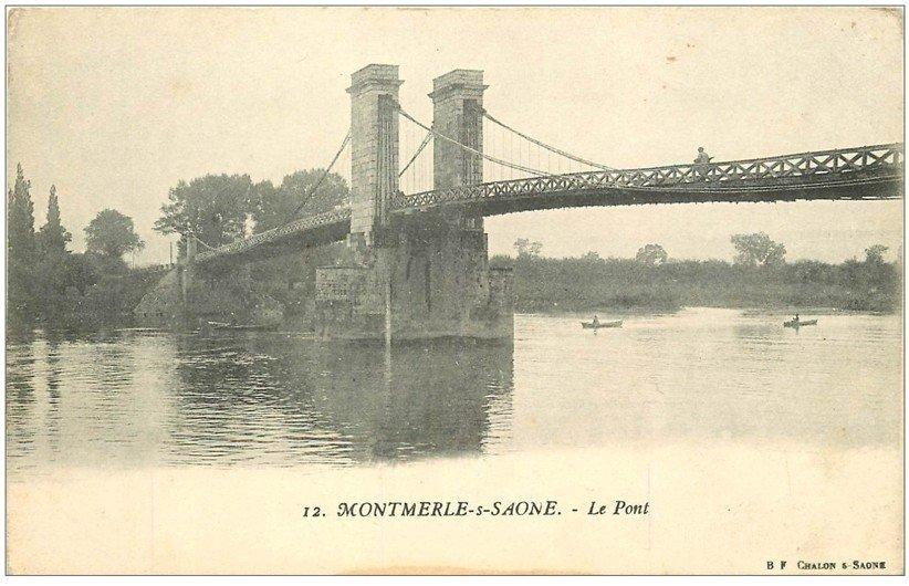 carte postale ancienne 01 MONTMERLE-SUR-SAONE. Le Pont. Carte pionnière vierge
