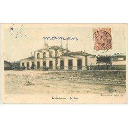 carte postale ancienne 28 MAINTENON. La Gare en couleur 1906