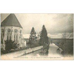 carte postale ancienne 28 NOGENT-LE-ROTROU. L'Huisne et Abside Eglise Saint-Hilaire 1904