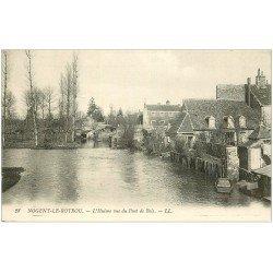carte postale ancienne 28 NOGENT-LE-ROTROU. L'Huisne vue du Pont de Bois