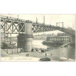 carte postale ancienne 29 BREST. Pont National et Passerrelle en Bois