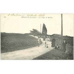 carte postale ancienne 29 BRIGNOGNAN. Route du Menhir 1918. Carte verso vierge