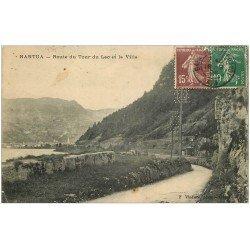 carte postale ancienne 01 NANTUA. Route du Tour du Lac et Ville 1926