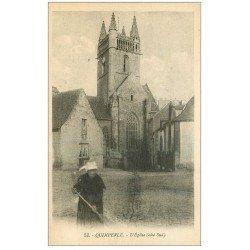 carte postale ancienne 29 QUIMPERLE. Balayeuse devant l'Eglise