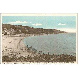 carte postale ancienne 29 TREBOUL. Colonie Vacances du Mans. Plage Pointe Leidé