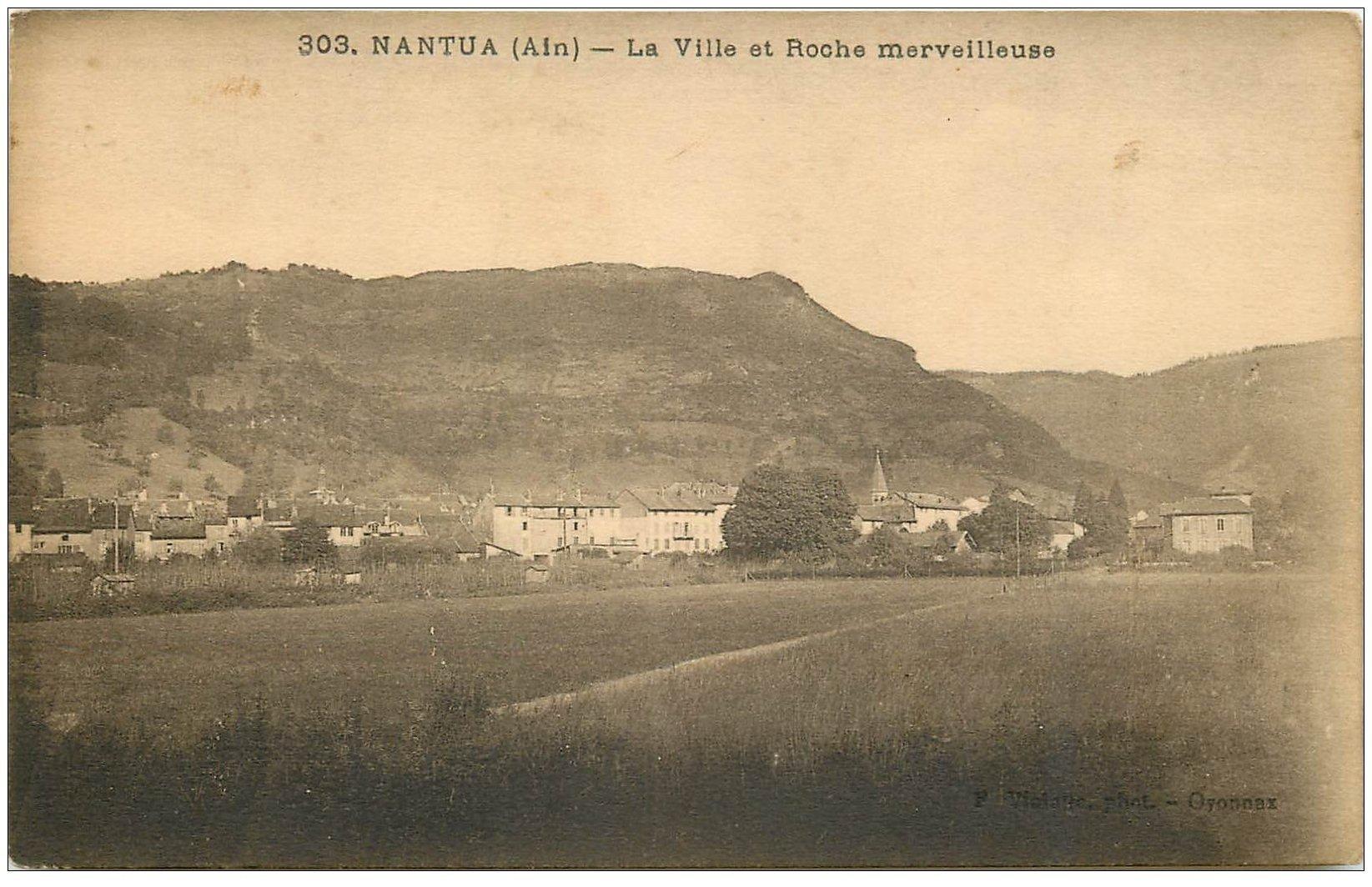 carte postale ancienne 01 NANTUA. Ville et Roche merveilleuse