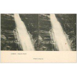 carte postale ancienne 31 LUCHON. Cascade d'Enfer. Carte stéréoscopique
