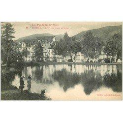 carte postale ancienne 31 LUCHON. Enfants sur Pièce d'Eau du Parc 1919