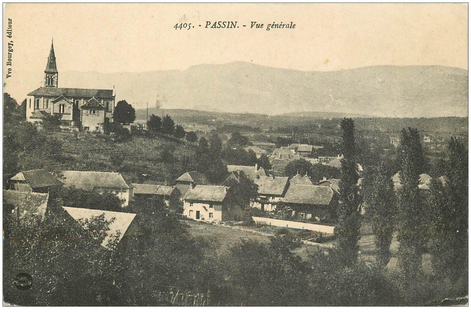 carte postale ancienne 01 PASSIN. Vue du Village