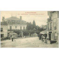 carte postale ancienne 31 MONTREJEAU. Fontaine Place des Veaux. Abreuvoir Public