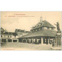 carte postale ancienne 31 MONTREJEAU. La Halle Statue Saint-Jean Café Junca