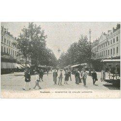 carte postale ancienne 31 TOULOUSE. Allée Lafayette. Publicité étoffes Lunel Grande Rue à Lisieux
