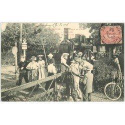 carte postale ancienne 31 TOULOUSE. Arrivée du Train des Pêcheurs à Pinsaguel 1906