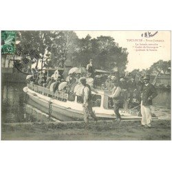 carte postale ancienne 31 TOULOUSE. Bateau-mouche Cadet-de-Gascogne 1909 Ponts-Jumeaux