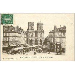 carte postale ancienne 32 AUCH. Marché Place de la Cathédrale 1909