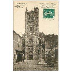 carte postale ancienne 32 CONDOM. Eglise Saint-Pierre vers 1910 Magasin Saboulard
