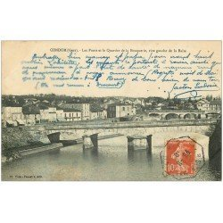 carte postale ancienne 32 CONDOM. Ponts Quartier de la Bouquerie 1910