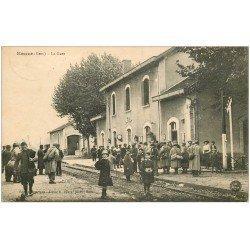 carte postale ancienne 32 EAUZE. La Gare Voyageurs et Militaires 1918