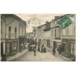 carte postale ancienne 32 GIMONT. Quartier Saint-Eloi 1913. Café Billard