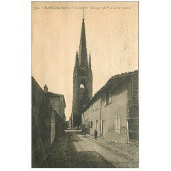 carte postale ancienne 32 MARCIAC. Clocher Eglise Gothique (défaut)