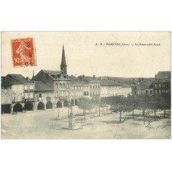 carte postale ancienne 32 MARCIAC. Place côté Nord vers 1910. Epicerie l'Epargne