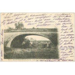 carte postale ancienne 32 MONTESTRUC. Les Deux Ponts 1902 attelage