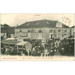 carte postale ancienne 32 RISCLE. Place de la Halle 1919 brocante
