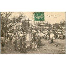 carte postale ancienne 32 SEISSAN. Foiral Place du Marché 1913