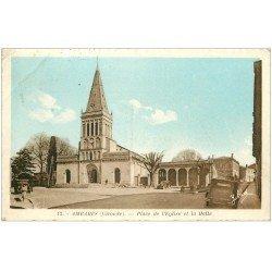 carte postale ancienne 33 AMBARES. Halle Place de l'Eglise 1945
