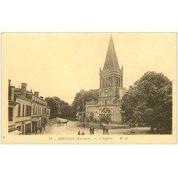 carte postale ancienne 33 AMBARES. L'Eglise 1945 la Fête