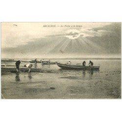 carte postale ancienne 33 ARCACHON. La Pêche à la Senne 1907