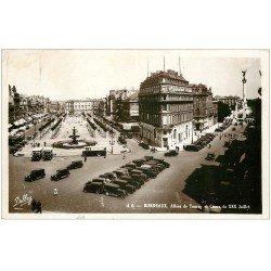 carte postale ancienne 33 BORDEAUX. Allées Tourny 1937. Carte Photo émaillographie