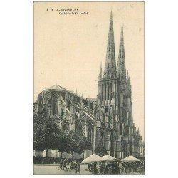 carte postale ancienne 33 BORDEAUX. Cathédrale et Marché A.H 4
