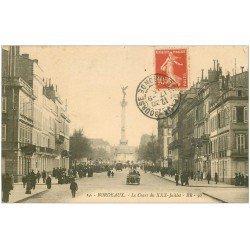 carte postale ancienne 33 BORDEAUX. Cours XXX Juillet 1913 voiture tacot