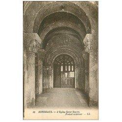 carte postale ancienne 33 BORDEAUX. Eglise Saint-Seurin Portail intérieur