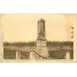 carte postale ancienne 33 CASTILLON. Monument Bataille n°6548