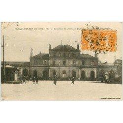carte postale ancienne 33 LIBOURNE. Place de la Gare lignes des Tramways 1922