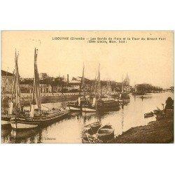 carte postale ancienne 33 LIBOURNE. Tour du Grand Port Bateaux Péniches à voile