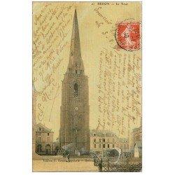 carte postale ancienne 35 REDON. La Tour et Passage à niveau 1910. Carte toilée