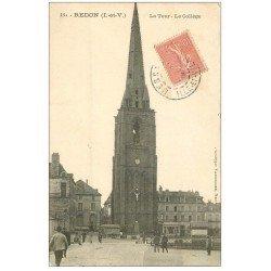 carte postale ancienne 35 REDON. Tour et Collège 1905. coins inf. biseautés