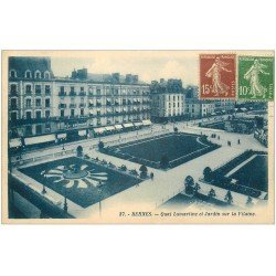 carte postale ancienne 35 RENNES. Jardin Quai Lamartine