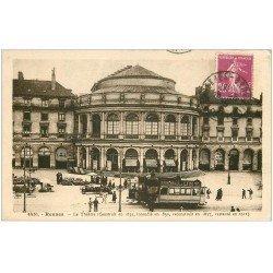 """carte postale ancienne 35 RENNES. Le Théâtre Tramway """""""" De Luzy """""""" 1935"""