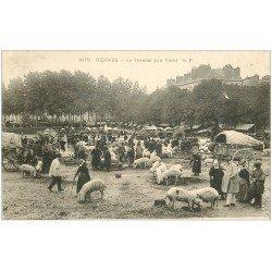 carte postale ancienne 35 RENNES. Marché aux Porcs