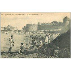 carte postale ancienne 35 SAINT-MALO. Château Grande Plage 1932