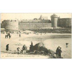 carte postale ancienne 35 SAINT-MALO. Château Grande Plage vers 1900