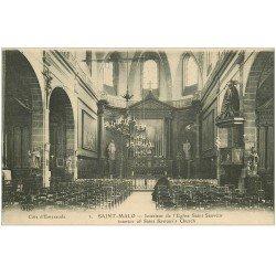 carte postale ancienne 35 SAINT-MALO. Eglise Saint-Sauveur