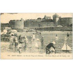 carte postale ancienne 35 SAINT-MALO. Grande Plage Château