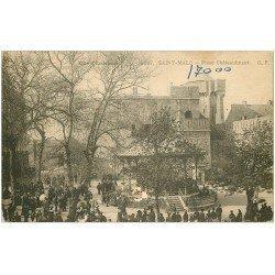 carte postale ancienne 35 SAINT-MALO. Kiosque à Musiques Place Chateaubriant vers 1900